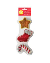 Christmas set of 3 cookie cutters Star stocking candy cane