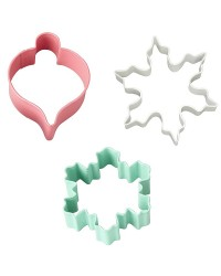 Christmas vintage cookie cutter set 3 snowflakes and bauble