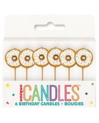 6 donut pick candles