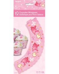 Baby shower cupcake wrappers Baby clothesline Pink