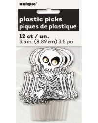 Skeleton cupcake picks pack of 12