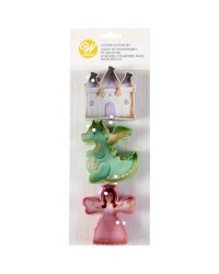 Fairy tale castle dragon and princess cookie cutter set 3