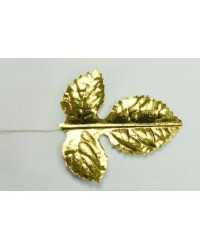 Gold 3 frond leaf Wired bundle of 50 2 inch 5 cm