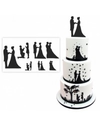 Wedding silhouette patchwork cutter set bride and groom