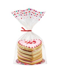 Valentines heart plate and treat bag set for cookies and more