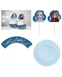 Frozen Cupcake wrappers baking cups and picks glitter set