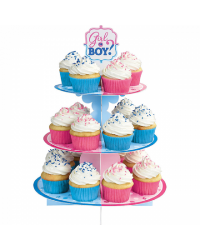 Girl or boy Gender reveal baby shower cupcake stand