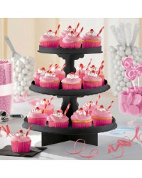 3 TIER CUPCAKE TREAT STAND Black