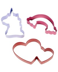 Magical cookie cutter set 3 unicorn double hearts and rainbow