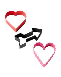Valentines cookie cutter set 3 hearts and cupid arrow