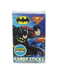 Batman and Superman candy sticks with Tattoo