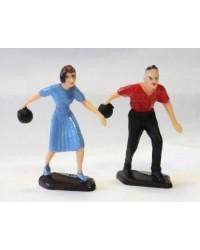 Ten pin bowling male and female bowler figurines pair