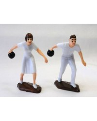 Lawn Bowls bowling male and female bowler figurines pair