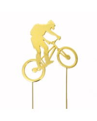 Bike rider on bicycle gold metal topper