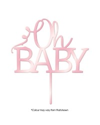 Pink Rose Mirror Acrylic cake topper pick Oh Baby