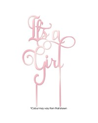 Its a Girl Rose pink Mirror acrylic topper