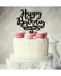 Happy Birthday SCRIPT Black acrylic topper