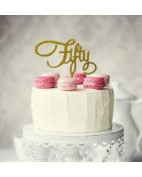 Number Fifty Script 50 Gold Glitter Acrylic cake topper pick