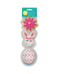 Easter Bunny face flower and egg cookie cutter set 3