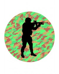 Edible icing image Soldier on camouflage background