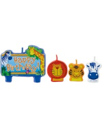 JUNGLE ANIMALS BIRTHDAY CANDLE SET of 4