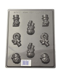 Christmas asstd chocolate mould Snowmen Candy Canes Santa