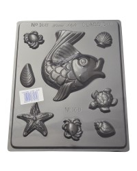 Seaside shapes fish turtle and seashells chocolate mould