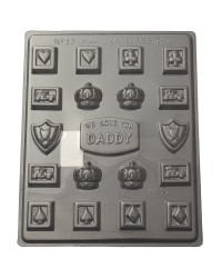 We Love Daddy chocolate mould card suits crowns cars