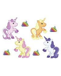 Character edible icing image sheet Unicorns and rainbow poop