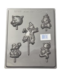 Clowns Pigs and Mouse lollipop circus fun chocolate mould