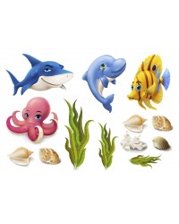 Character edible icing image sheet Under the sea creatures