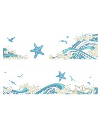 A3 Edible icing image sheet Starfish and waves strips
