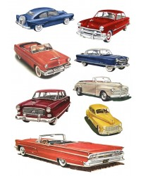 Character edible icing image sheet 1950s vintage cars