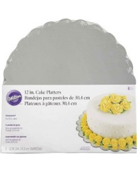 Scalloped 12 inch silver cake card boards pack of 8