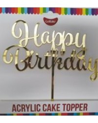 Gobake HAPPY BIRTHDAY Acrylic economy mirror topper Gold