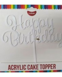 Gobake HAPPY BIRTHDAY Acrylic economy mirror topper White