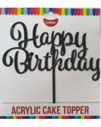 Gobake HAPPY BIRTHDAY Acrylic economy mirror topper Black