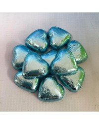 Foil covered chocolate hearts Blue