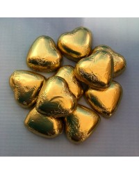 Foil covered chocolate hearts Gold