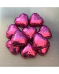 Foil covered chocolate hearts Hot Pink Fuchsia
