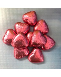 Foil covered chocolate hearts Pink