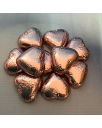 Foil covered chocolate hearts Rose Pink