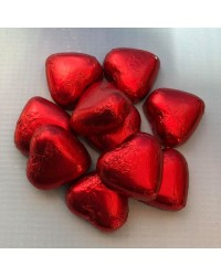 Foil covered chocolate hearts Red