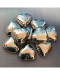 Foil covered chocolate hearts Silver