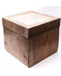 Cake box Tall woodgrain window 30cm 12 inch