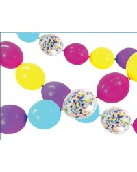 Balloon linking garland confetti and colours