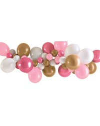 Party balloon garland pink gold and white