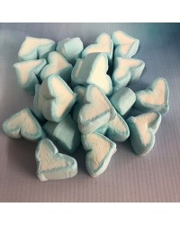 Marshmallow hearts Baby blue candy lollies
