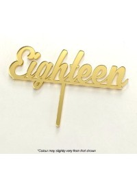 Number Eighteen Gold MIRROR ACRYLIC CAKE TOPPER PICK