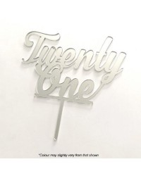 Number Twenty One 21 Silver Mirror Acrylic cake topper pick